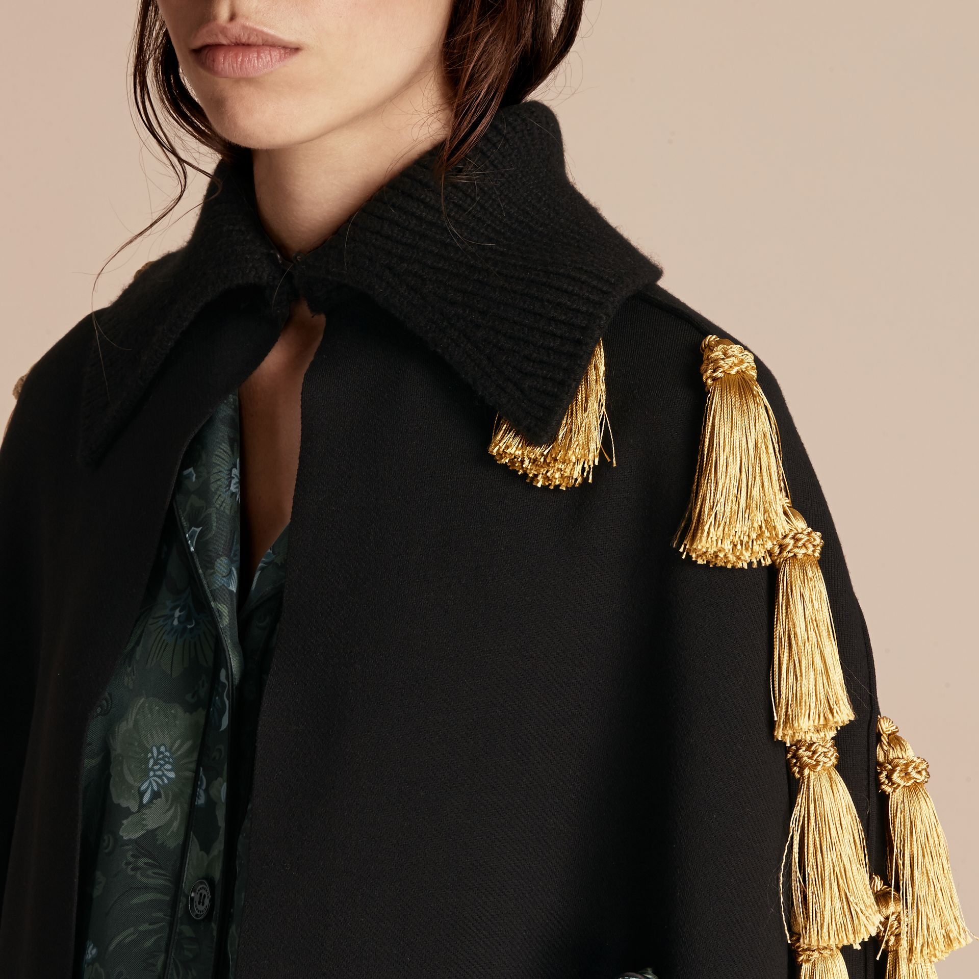 Black Wool Blend Military Cape with Tassels - gallery image 5