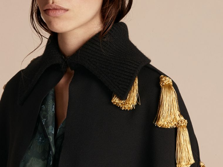 Wool Blend Military Cape with Tassels - cell image 4