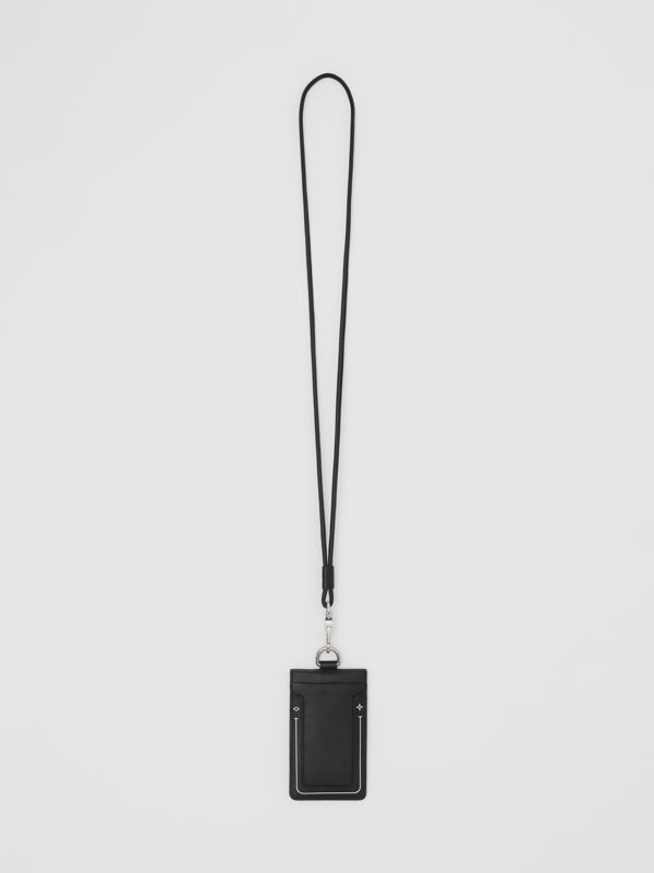 Symbol Print Leather Card Case Lanyard in Black | Burberry United Kingdom - cell image 3