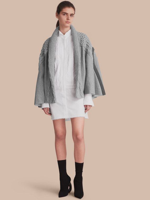 Cable Knit Cotton Blend Panelled Poncho