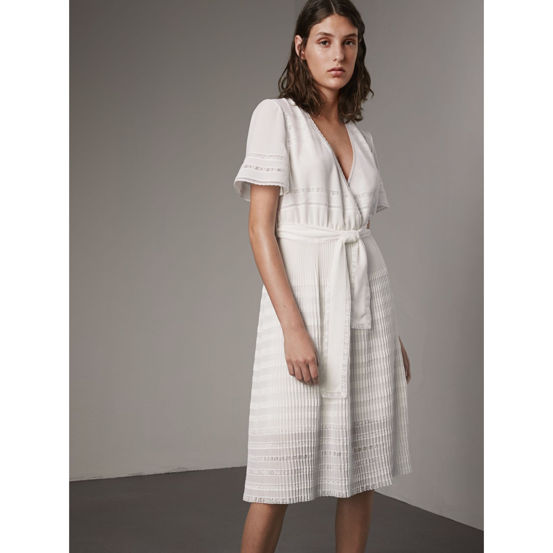 Pleated Georgette Wrap Dress in Natural White - Women | Burberry - gallery image 5