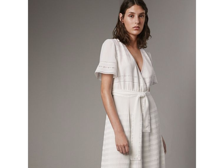 Pleated Georgette Wrap Dress in Natural White - Women | Burberry Canada - cell image 4