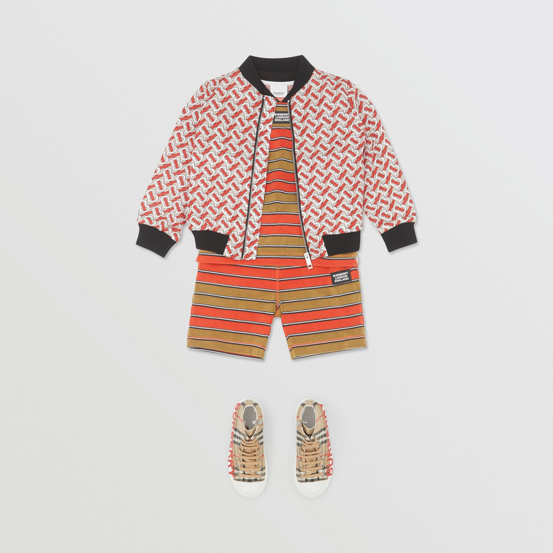 Monogram Print Nylon Bomber Jacket in Vermilion Red | Burberry Hong Kong S.A.R - gallery image 2