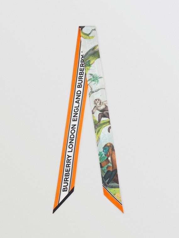 Узкий шелковый шарф с принтом Monkey (Светло-зеленый Опал)