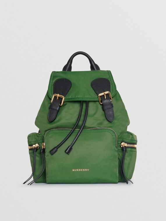 The Medium Rucksack in Technical Nylon and Leather in Racing Green