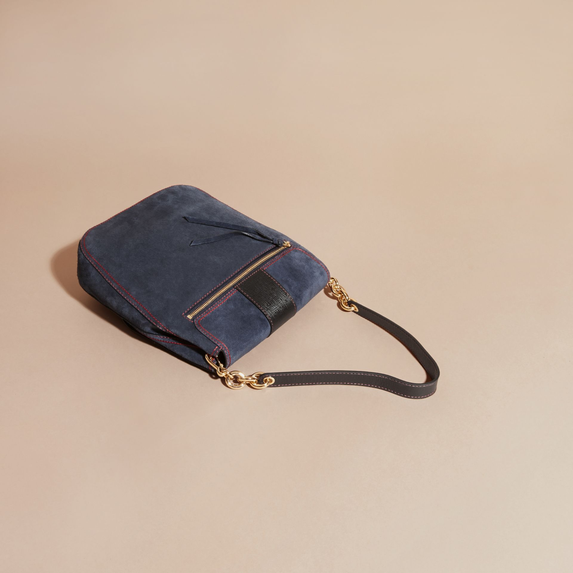 Navy The Buckle Satchel in Suede with Topstitching Navy - gallery image 4