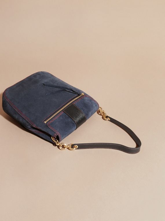 Navy The Buckle Satchel in Suede with Topstitching Navy - cell image 3