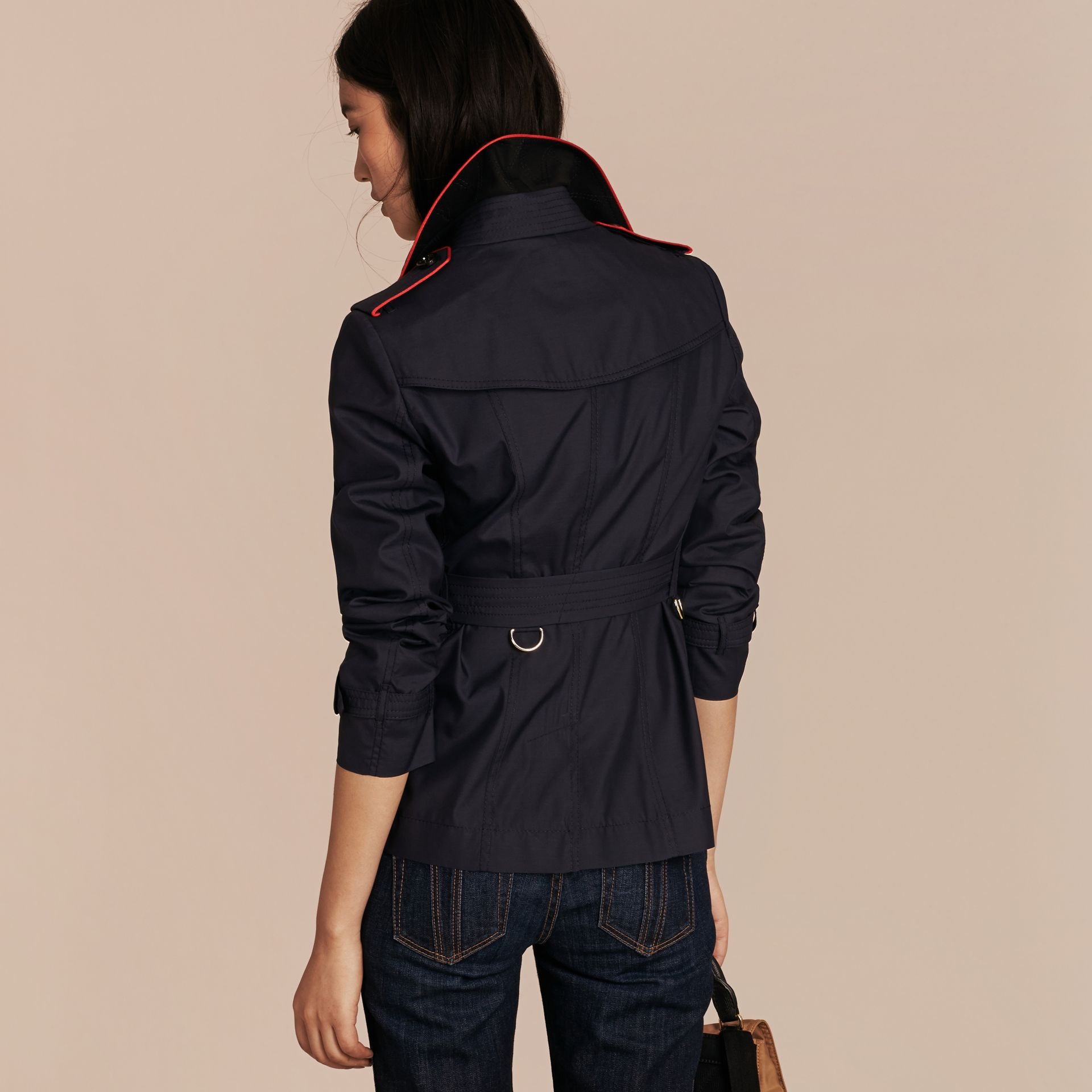 Navy Showerproof Silk Wool Trench Jacket - gallery image 3