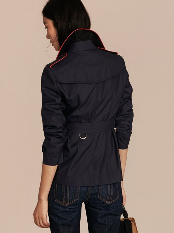Navy Showerproof Silk Wool Trench Jacket - cell image 2