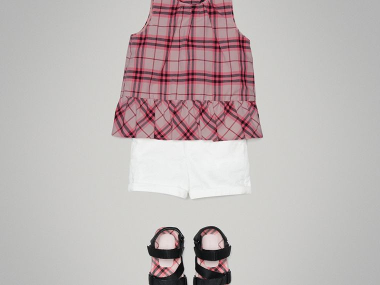 Top in cotone con motivo tartan e arricciature (Rosa Intenso) | Burberry - cell image 1
