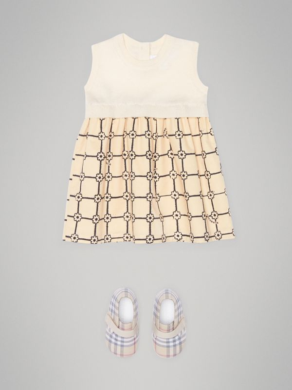 Knit Cashmere and Flower Print Cotton Dress in Ivory - Children | Burberry United Kingdom - cell image 2