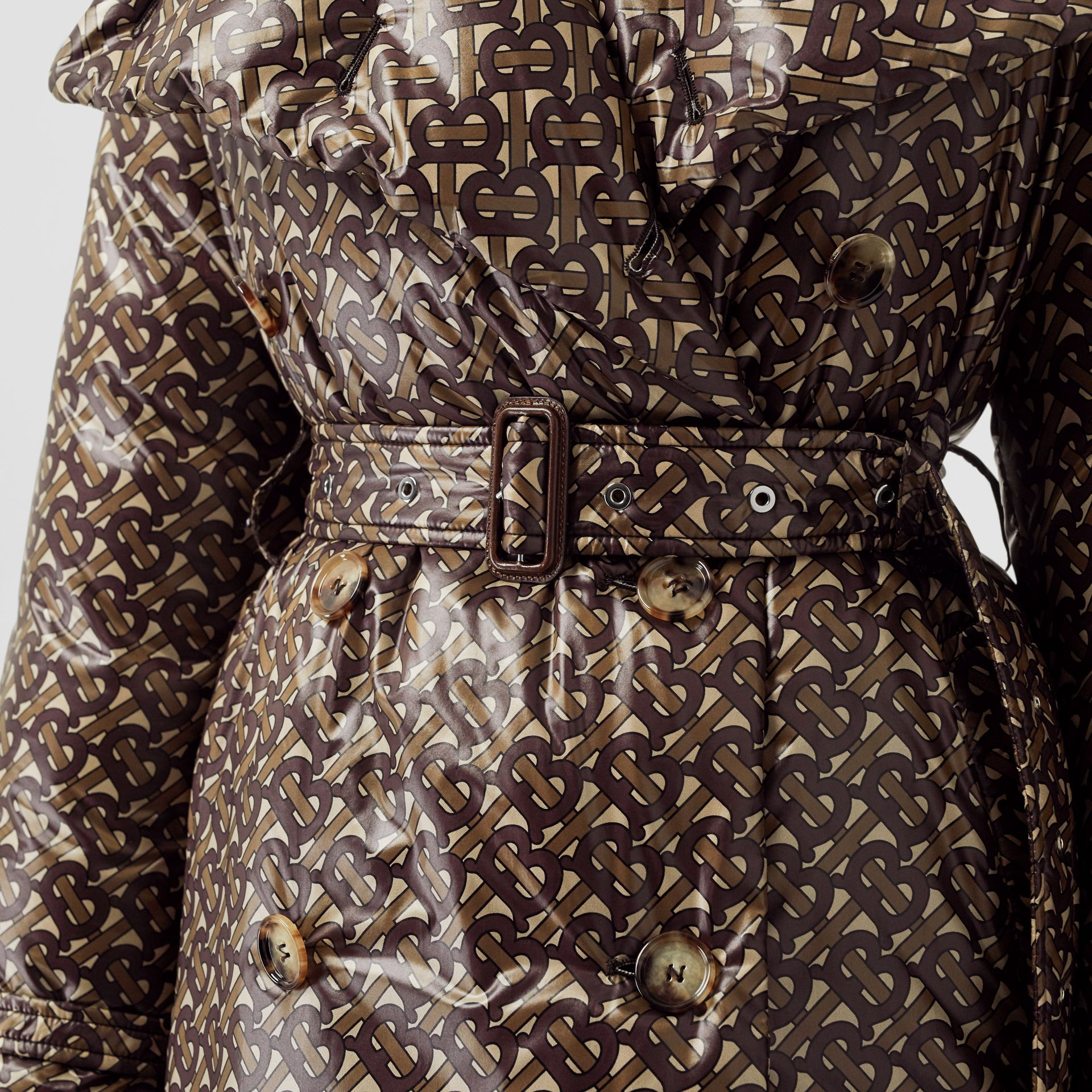 Monogram Print Nylon Down-filled Trench Coat in Bridle Brown - Women | Burberry - gallery image 5