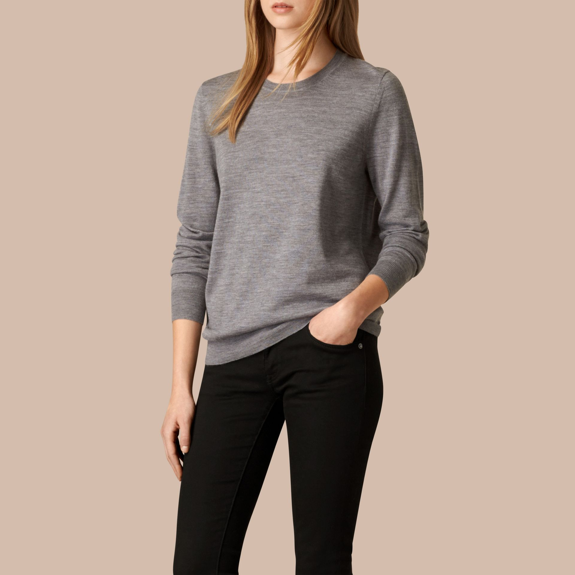 Check Detail Merino Wool Crew Neck Sweater in Mid Grey Melange - gallery image 1