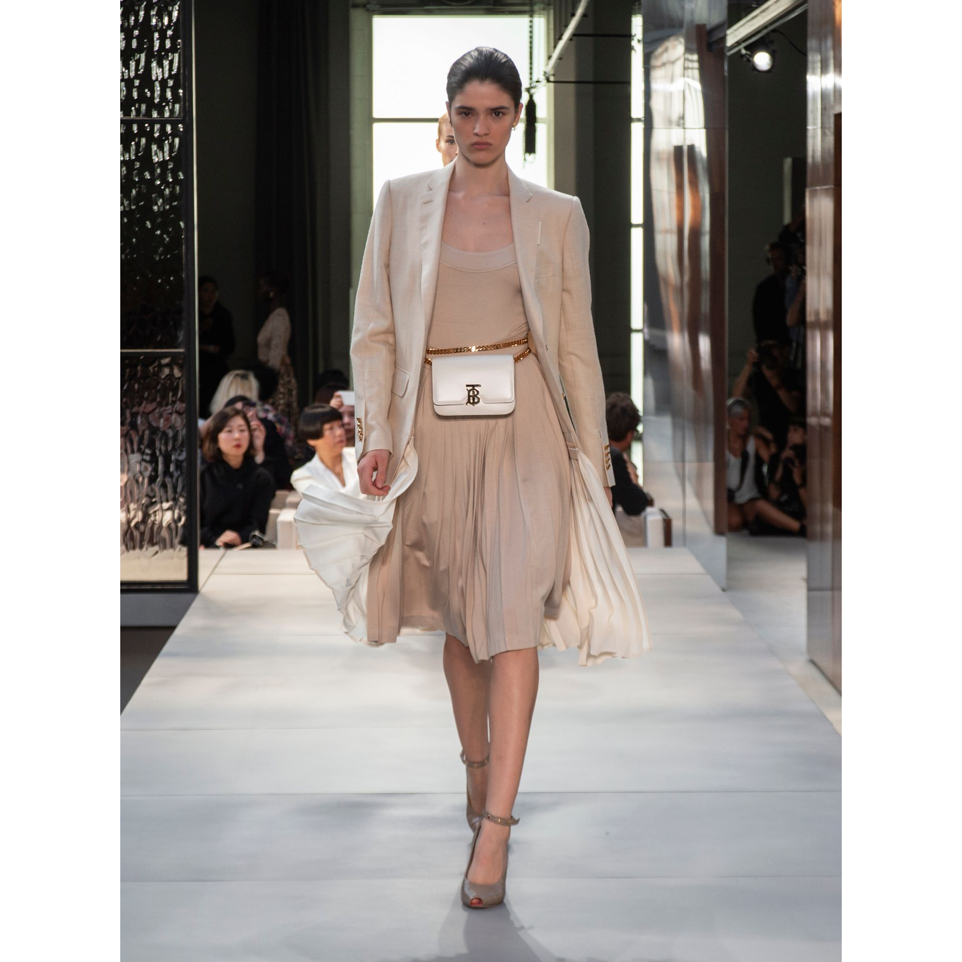 Long-sleeve Pleated Dress in Teddy Beige - Women | Burberry - gallery image 6