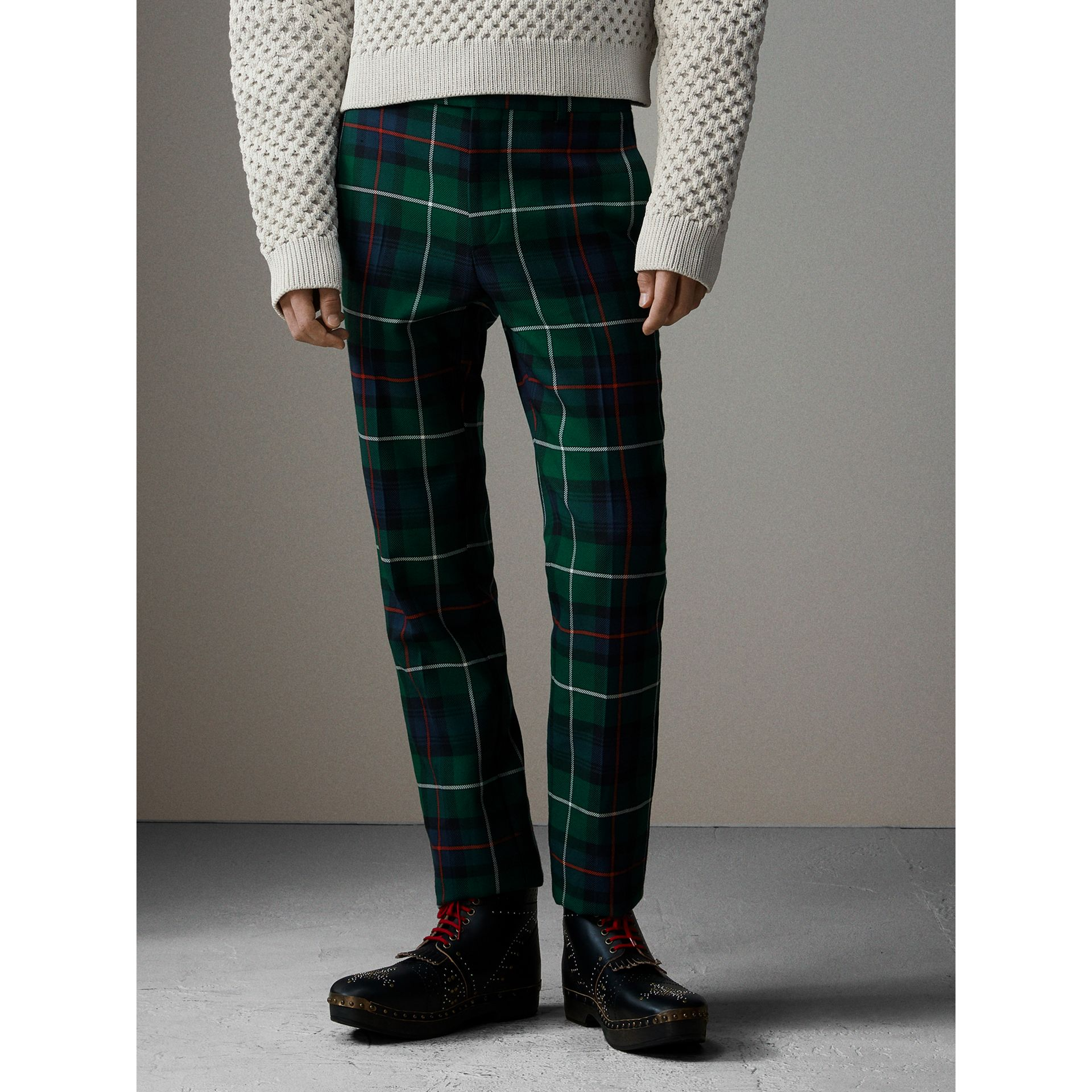 Tartan Wool Cropped Tailored Trousers in Forest Green - Men | Burberry - gallery image 6