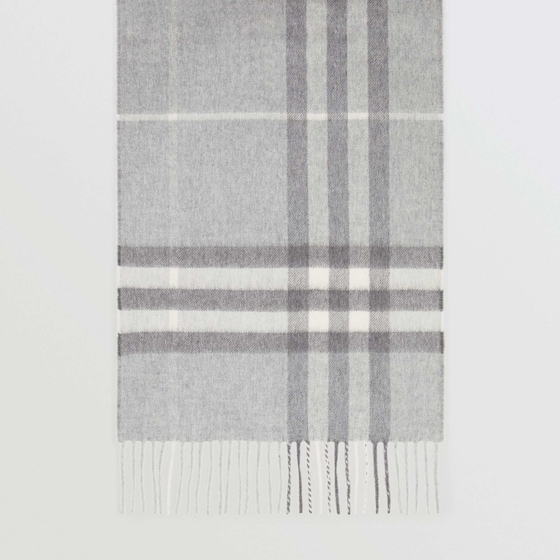 The Classic Check Cashmere Scarf in Pale Grey | Burberry United Kingdom - gallery image 4