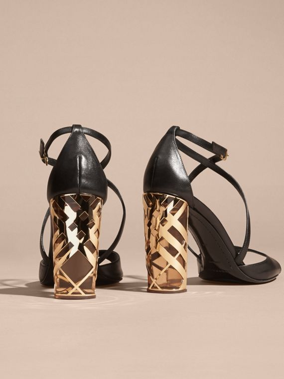 Black Check Heel Leather Sandals - cell image 3