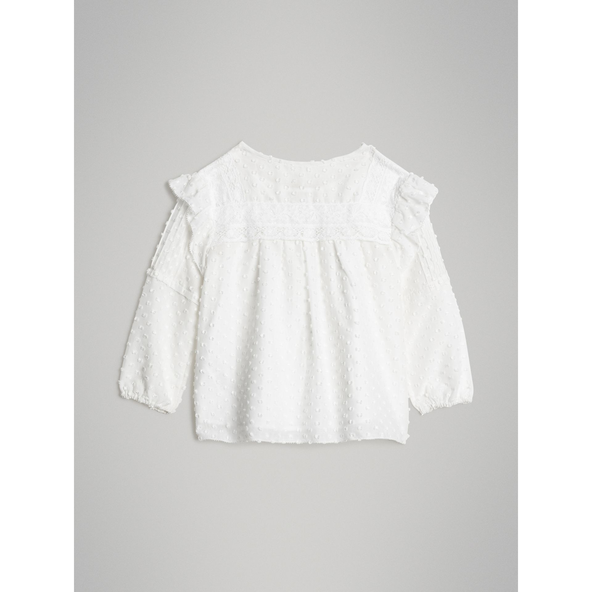 Ruffle Detail Cotton Silk Blend Top in White | Burberry United Kingdom - gallery image 3