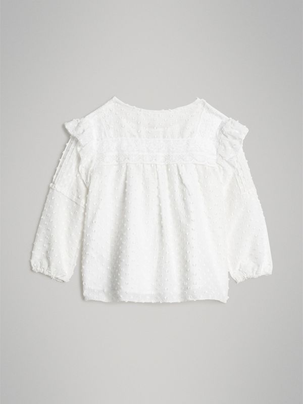 Ruffle Detail Cotton Silk Blend Top in White | Burberry - cell image 3