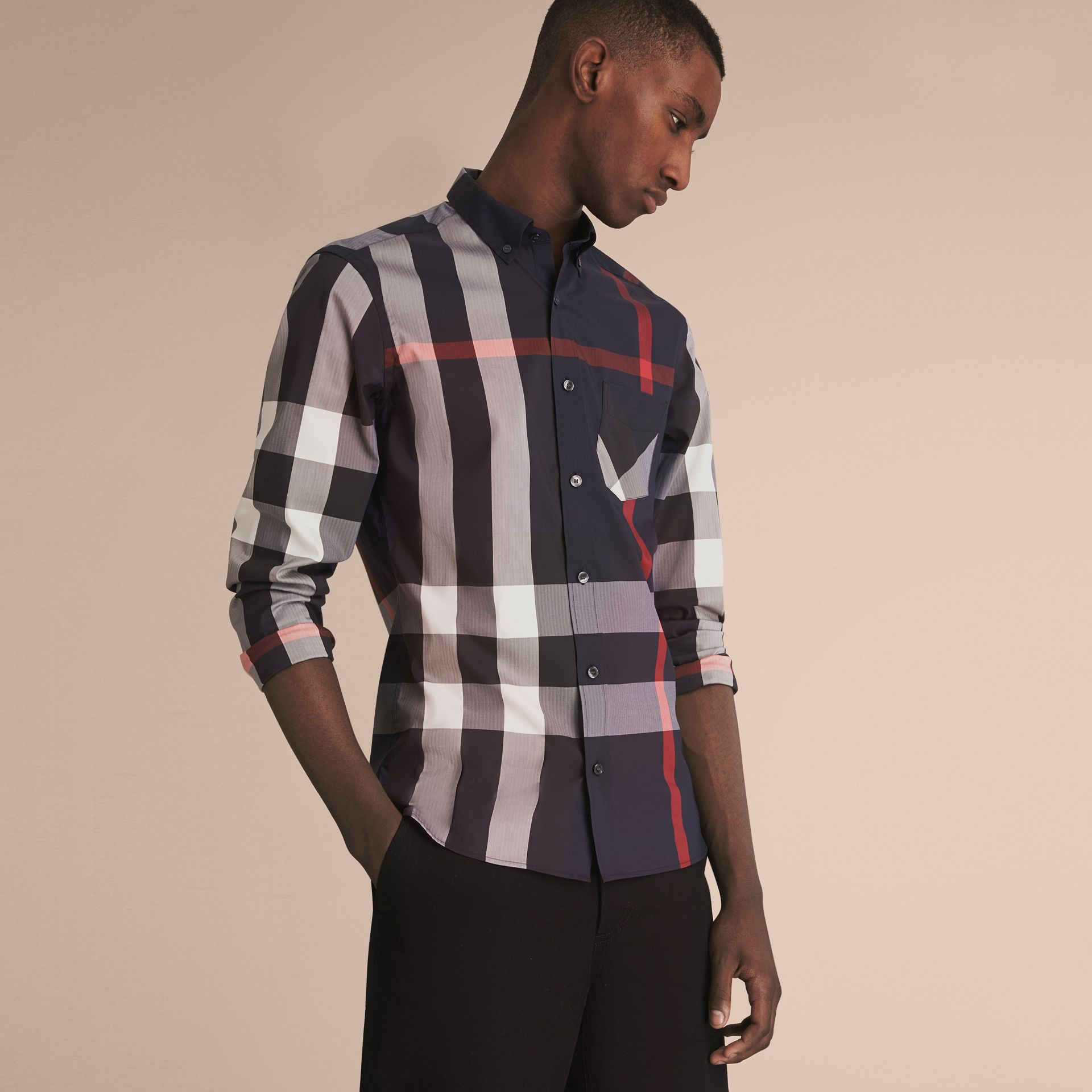 Button-down Collar Check Stretch Cotton Blend Shirt in Navy - Men | Burberry - gallery image 6