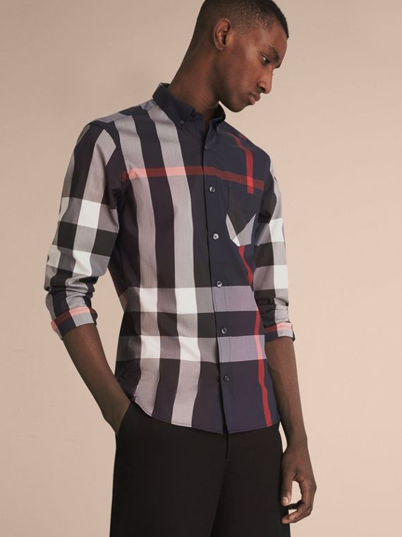 Button-down Collar Check Stretch Cotton Blend Shirt in Navy - Men | Burberry Singapore