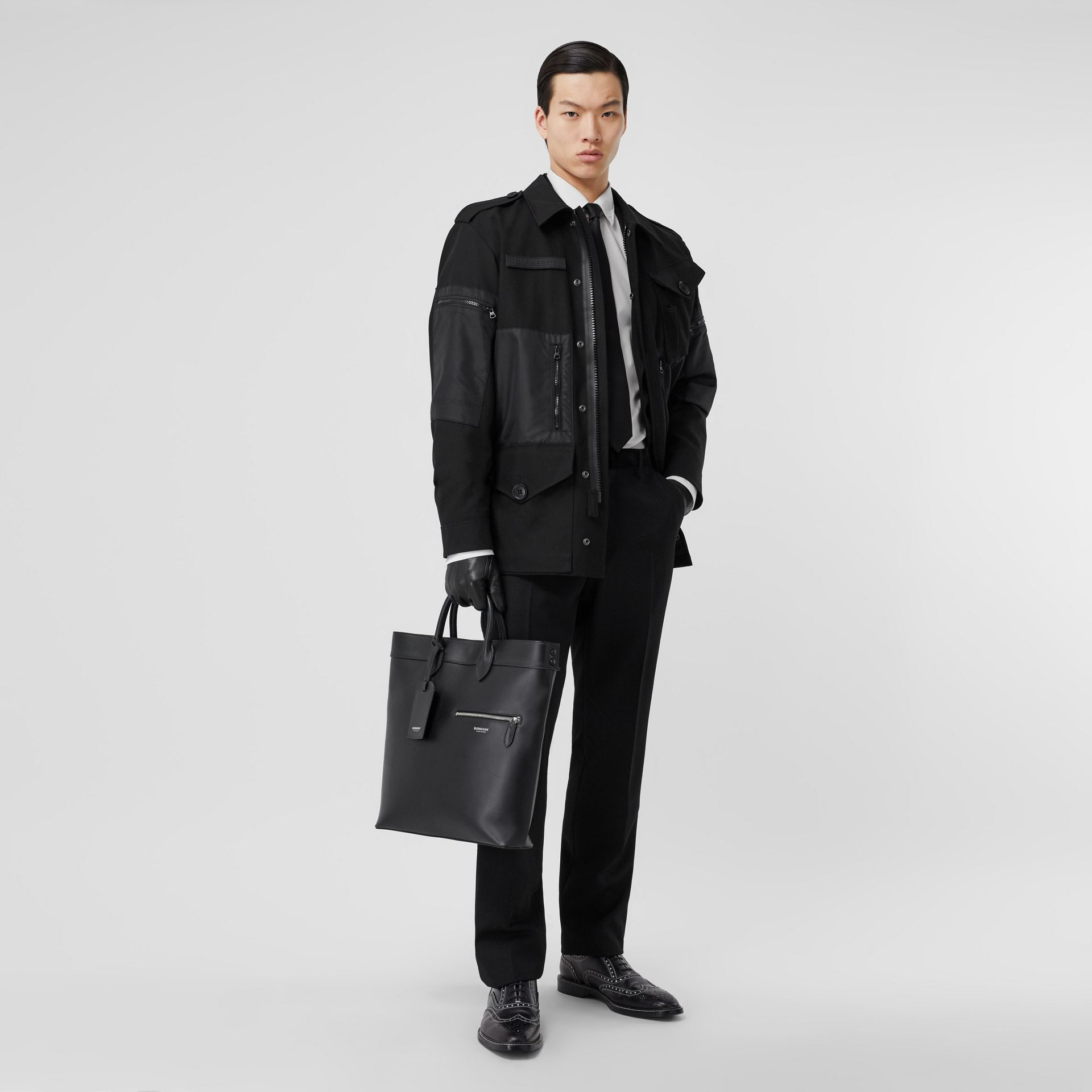 Leather Tote in Black - Men | Burberry United Kingdom - gallery image 7