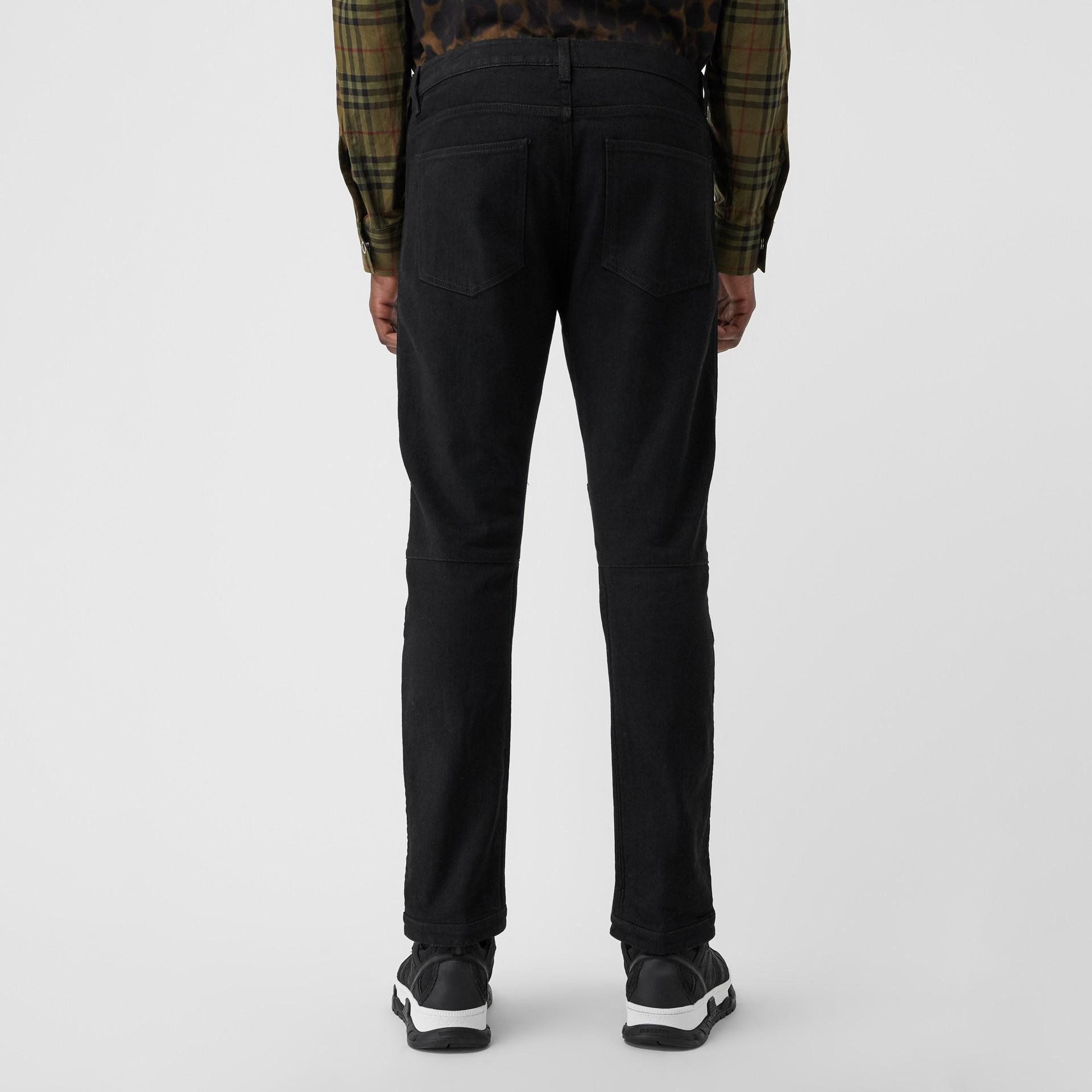 Slim Fit Zip Detail Biker Jeans in Black - Men   Burberry United States - gallery image 2