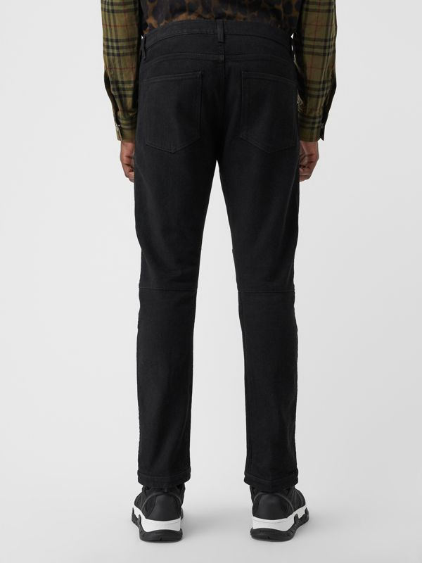 Slim Fit Zip Detail Biker Jeans in Black - Men | Burberry United States - cell image 2