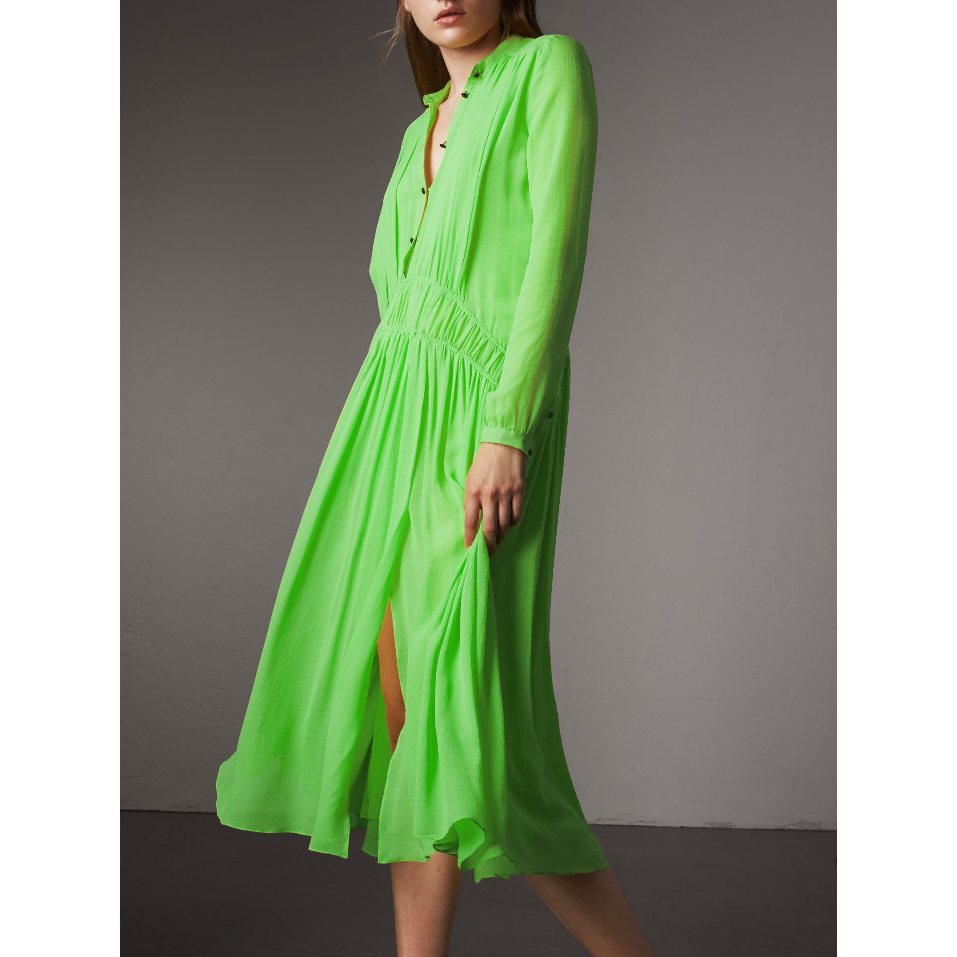 Gathered Silk Georgette Dress in Neon Green - Women | Burberry United Kingdom - gallery image 1
