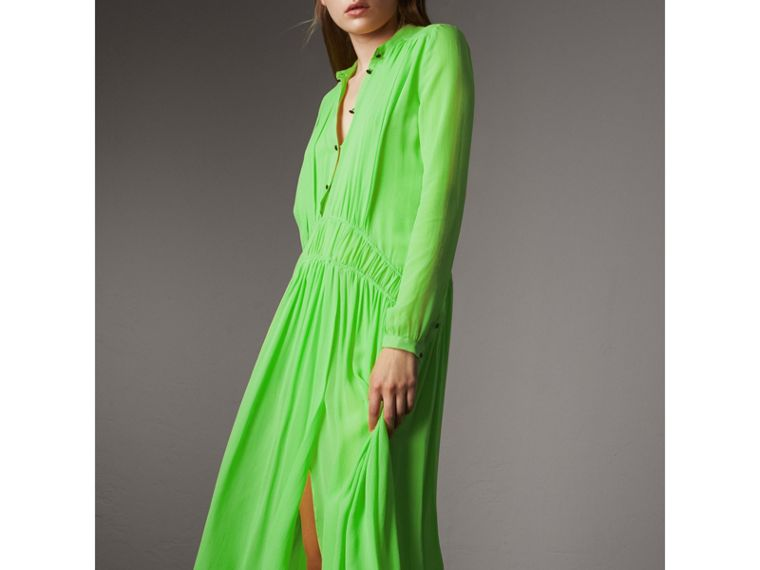 Gathered Silk Georgette Dress in Neon Green - Women | Burberry - cell image 1