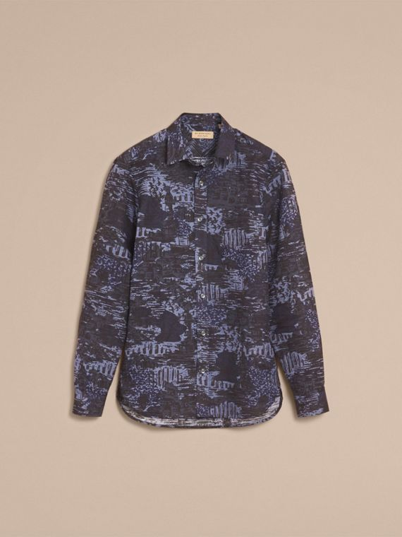 British Seaside Print Linen Cotton Shirt - cell image 3