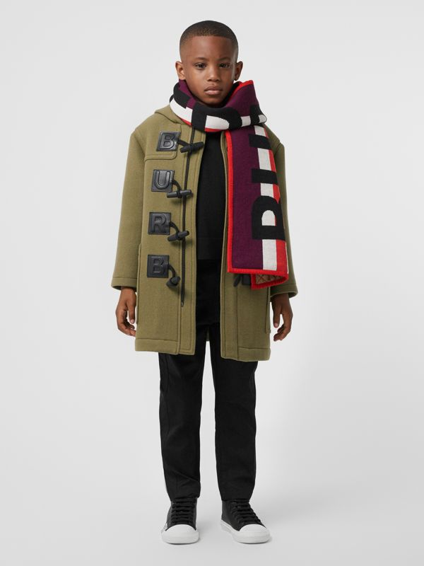 Logo Detail Wool Cashmere Blend Duffle Coat in Oregano | Burberry United Kingdom - cell image 2