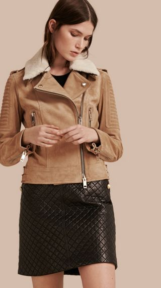 Suede Biker Jacket with Shearling Topcollar