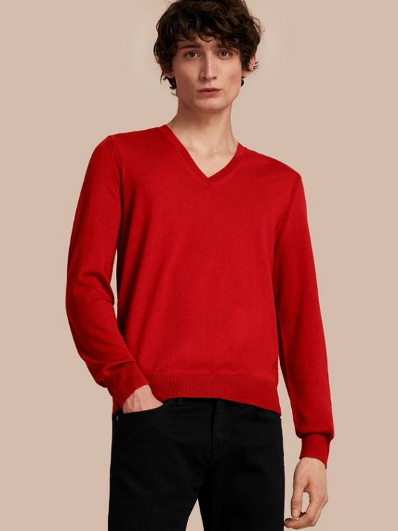 Check Elbow Detail Wool Sweater Military Red