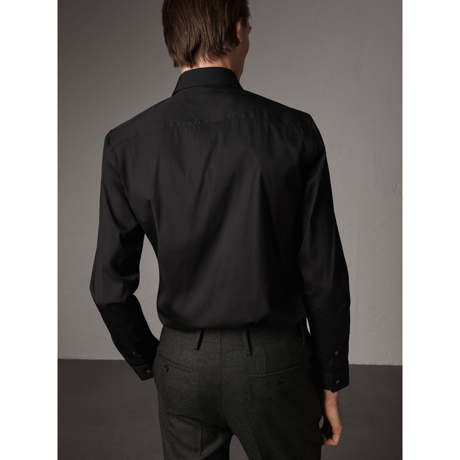 Slim Fit Stretch Cotton Shirt in Black - Men | Burberry United Kingdom - gallery image 3