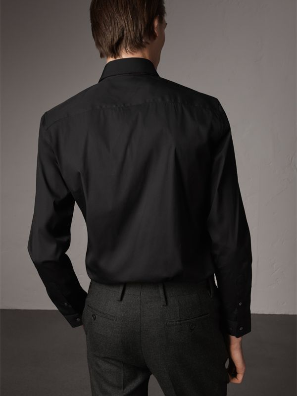 Slim Fit Stretch Cotton Shirt in Black - Men | Burberry United Kingdom - cell image 2