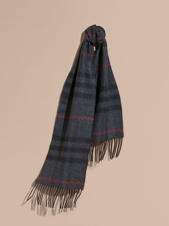 Charcoal check The Mini Classic Cashmere Scarf in Check Charcoal - cell image 3