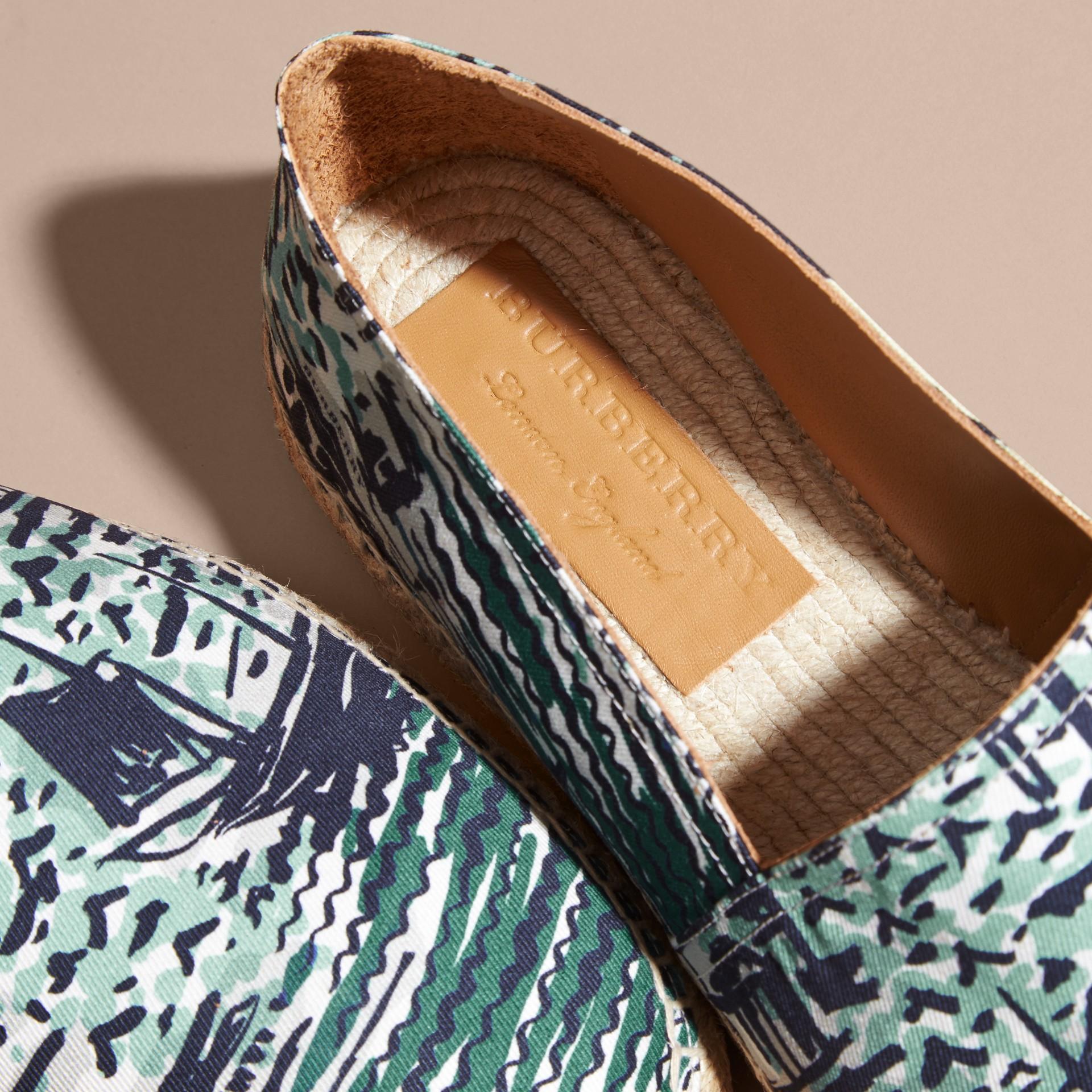 British Seaside Print Cotton Espadrilles Aqua Green - gallery image 2