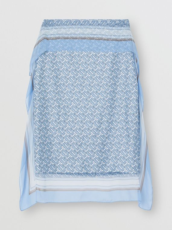 Scarf Detail Monogram Print Silk Pencil Skirt in Baby Blue