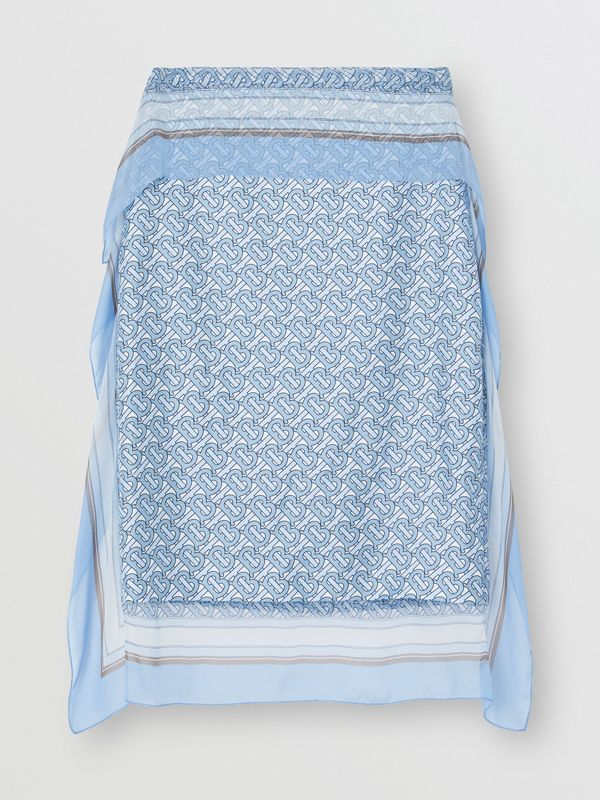 Scarf Detail Monogram Print Silk Pencil Skirt in Baby Blue - Women | Burberry - cell image 3