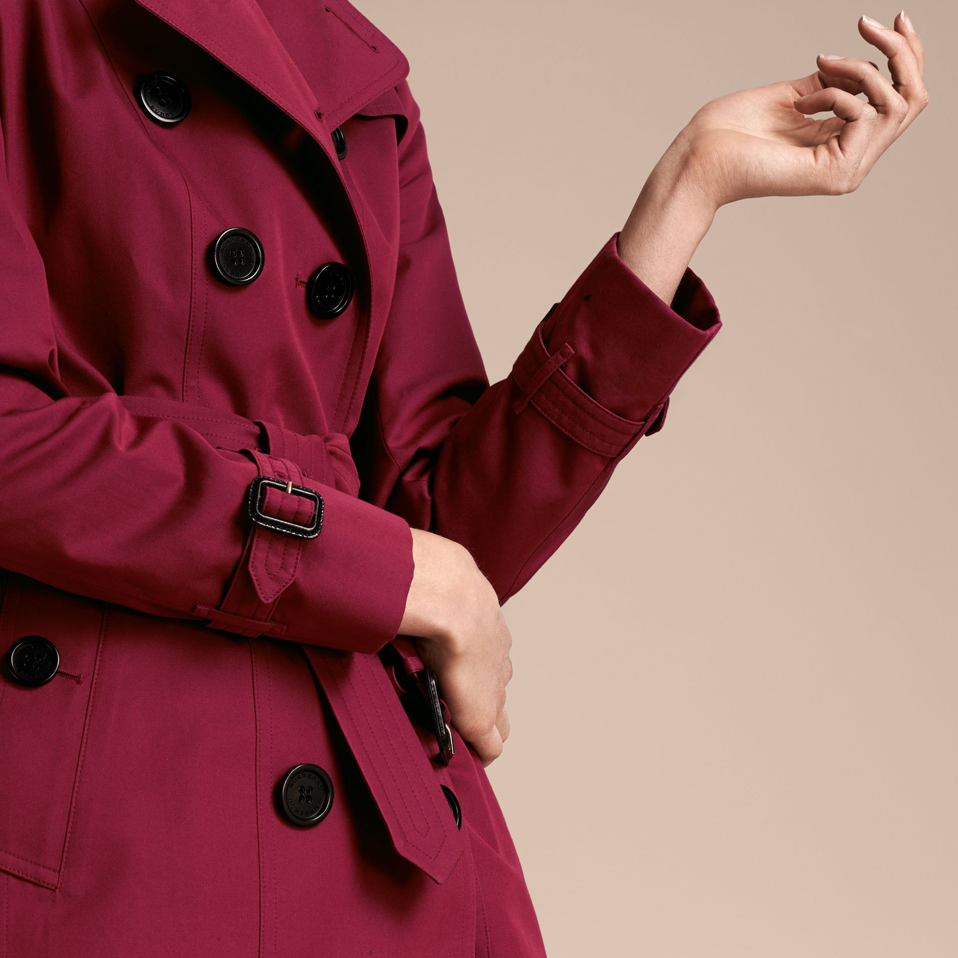 Cotton Gabardine Trench Coat in Damson Pink - gallery image 5