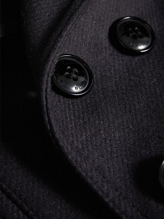 Wool Cashmere Pea Coat with Down-filled Gilet in Navy | Burberry - cell image 1