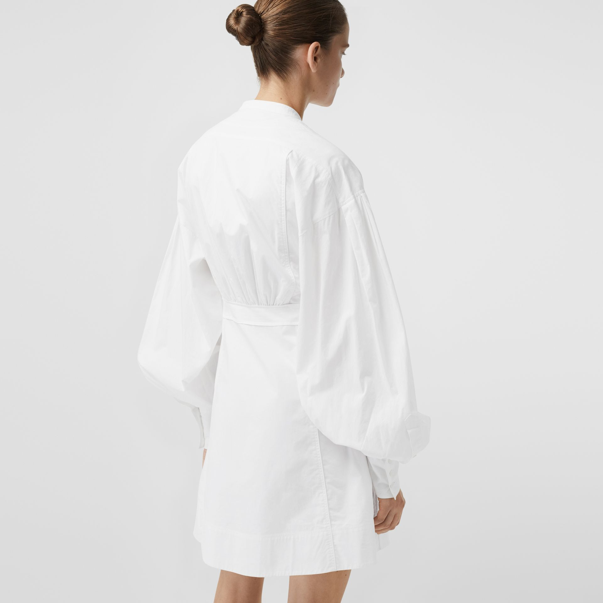 Puff-sleeve Cotton Shirt Dress in Optic White - Women | Burberry - gallery image 2
