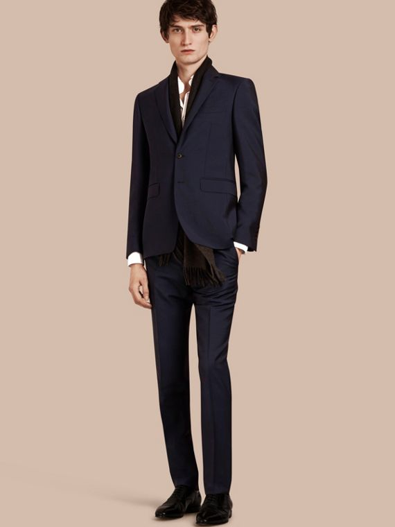 Slim Fit Wool Mohair Part-canvas Suit in Royal Navy