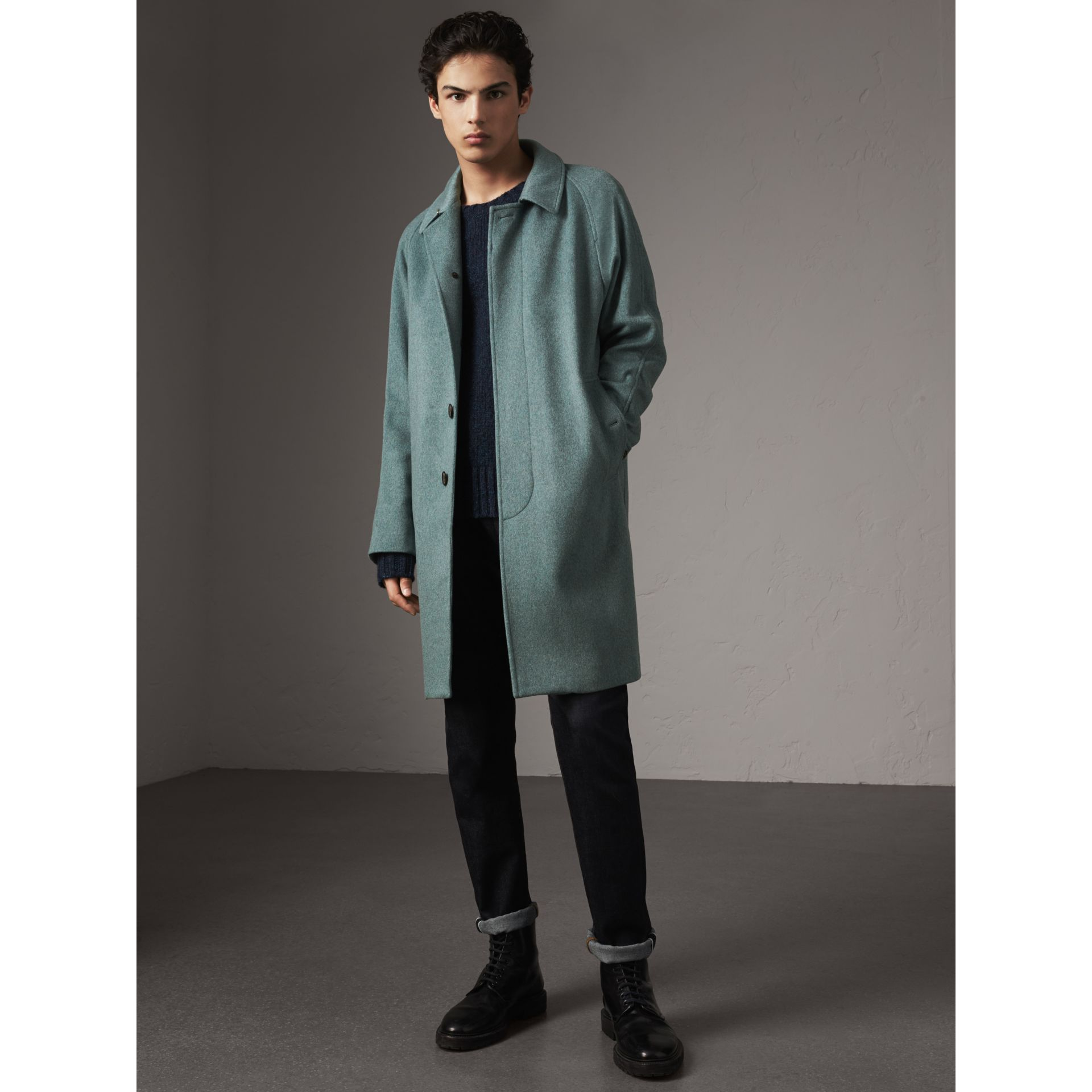 Cashmere Car Coat in Storm Green Melange - Men | Burberry Australia - gallery image 7