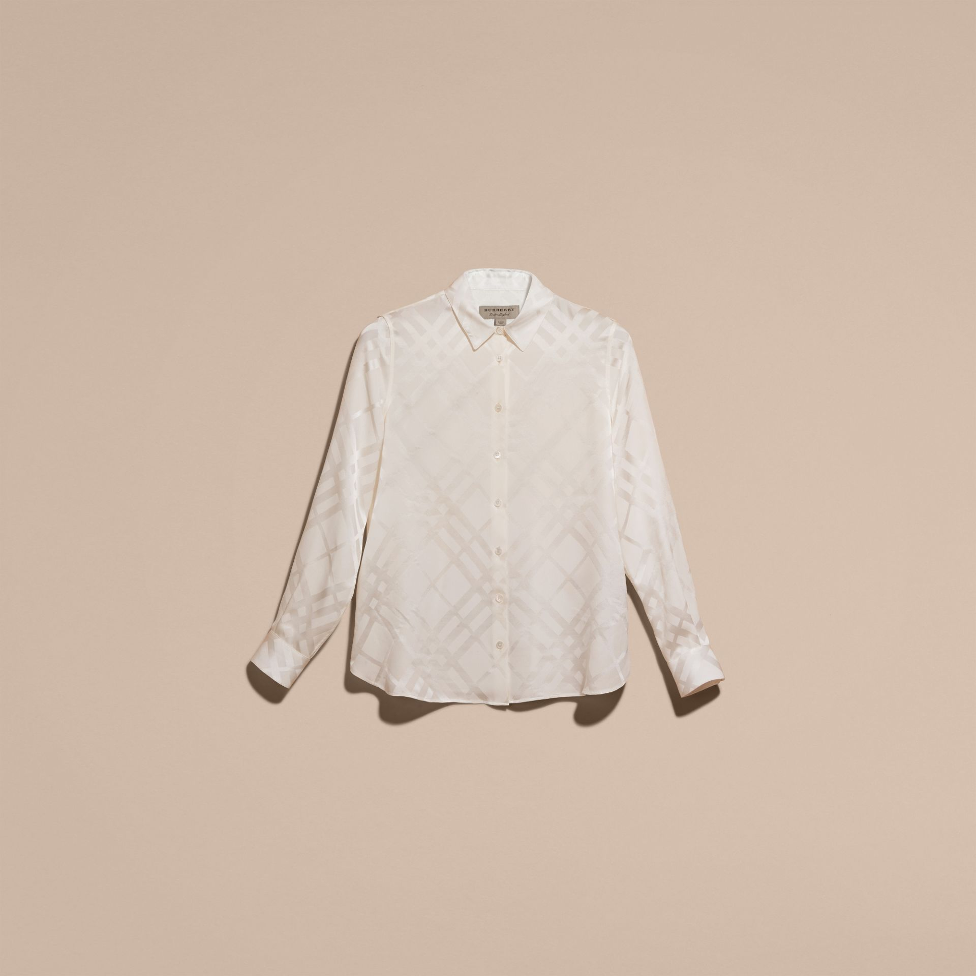 Tonal Check Silk Shirt White - gallery image 4