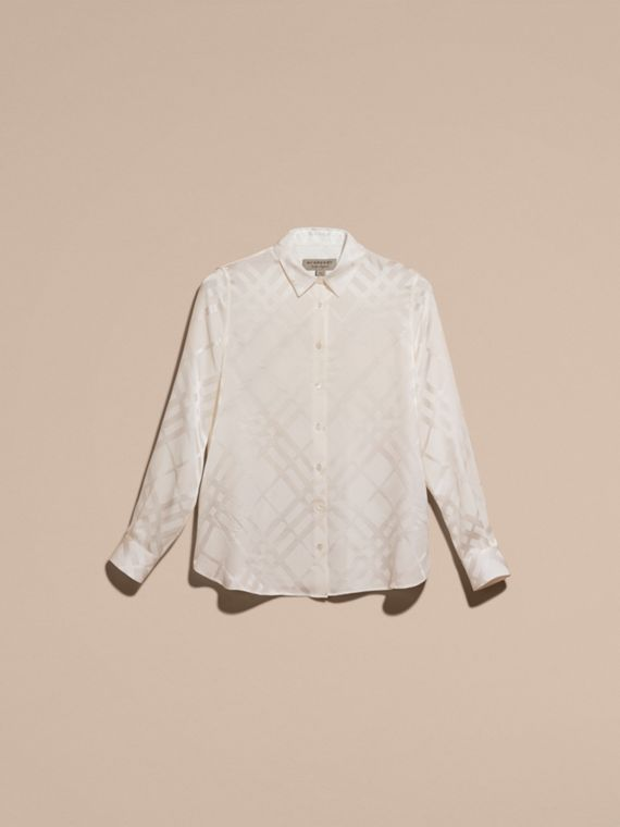 White Tonal Check Silk Shirt White - cell image 3