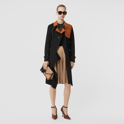 Two Tone Cotton Gabardine Trench Coat by Burberry