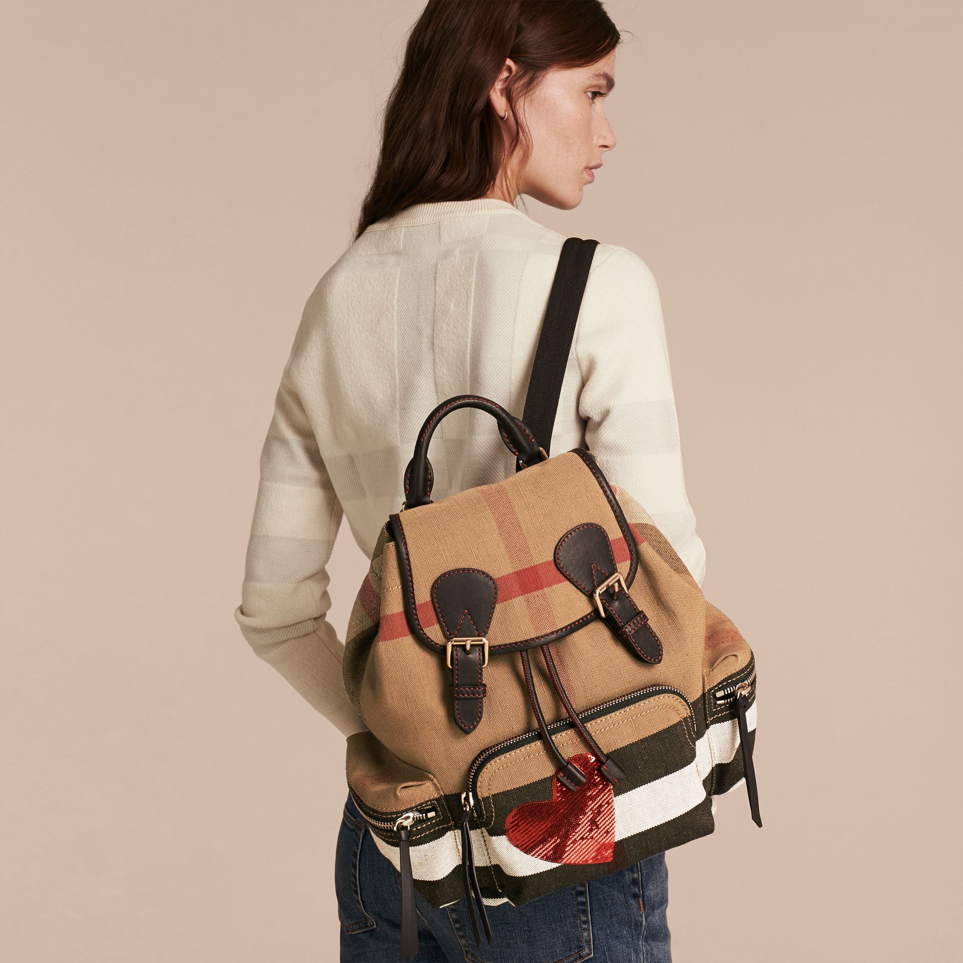 The Medium Rucksack in Canvas Check with Sequinned Heart - gallery image 3