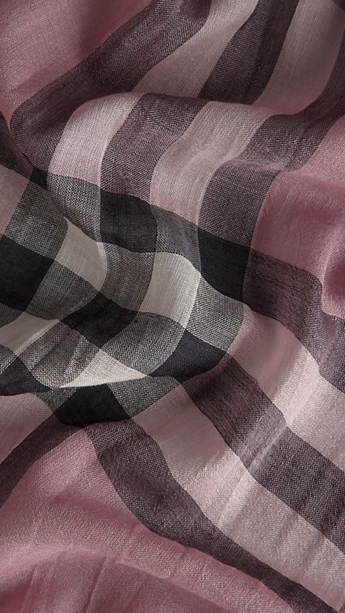 Pink heather check Lightweight Check Wool and Silk Scarf - Image 3